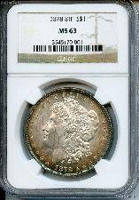 1878 8TF Morgan Silver Dollar in NGC MS 63
