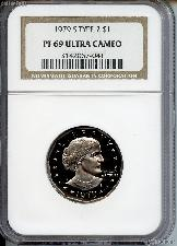 1979-S Susan B. Anthony (SBA) Dollar PROOF Type 2 in NGC PF 69 ULTRA CAMEO
