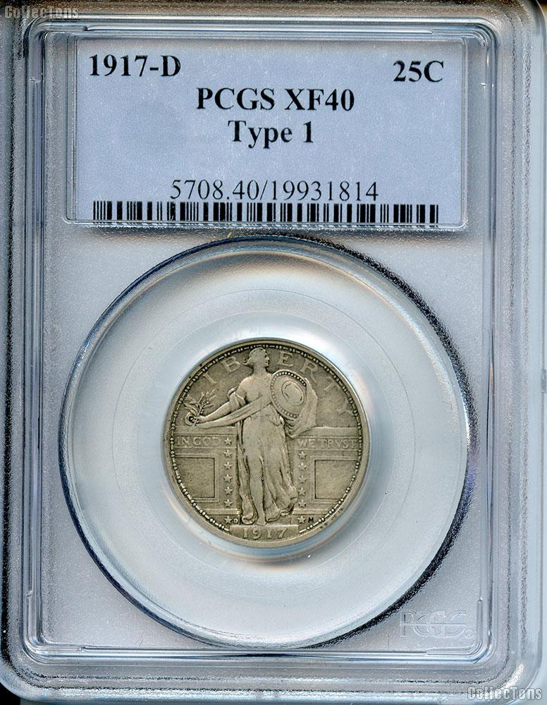 1917-D Standing Liberty Silver Quarter TYPE 1 in PCGS XF 40