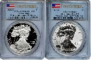 2012-S American Silver Eagle San Francisco 75th Anniversary Set (2 Coins) Proof and Reverse Proof FIRST STRIKE in PCGS PR 69 Deep Cameo (DCAM) & PR 69