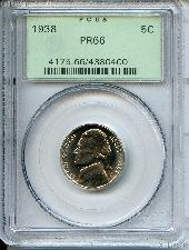 1938 Jefferson Nickel PROOF in PCGS PR 66