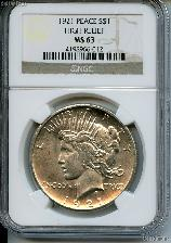 1921 Peace Silver Dollar High Relief KEY DATE in NGC MS 63