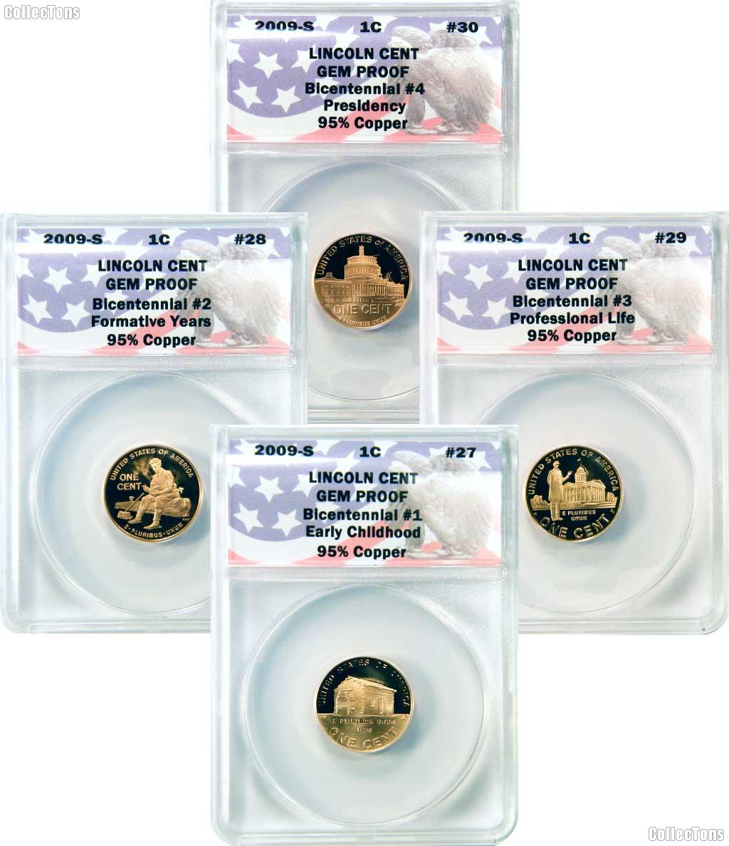 CollecTons Keepers #27- #30: 2009 Lincoln Bicentennial  Complete Proof Cent Collection Certified in Exclusive ANACS GEM Proof Holder