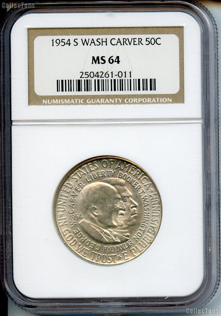 1954-S Washington Carver Half Dollar in NGC MS 64