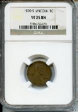 1909-S Lincoln Wheat Cent KEY DATE in NGC VF 25 BN (Brown)