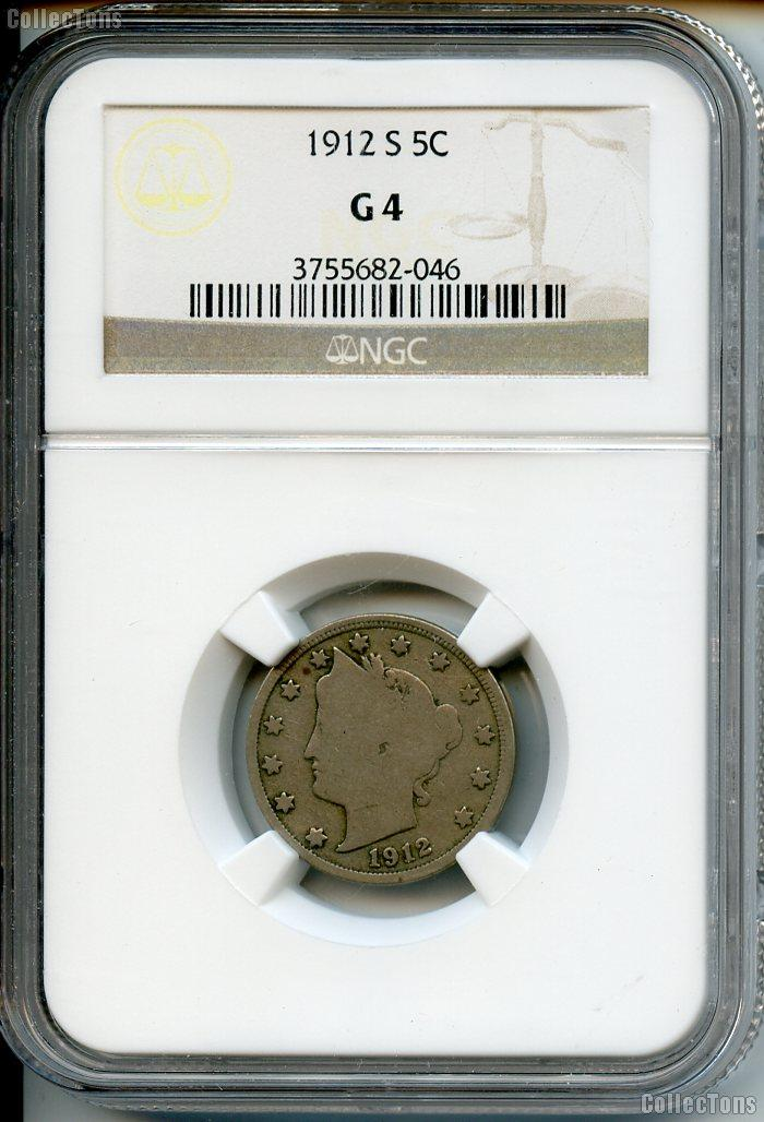 1912-S Liberty Head V Nickel KEY DATE in NGC G 4