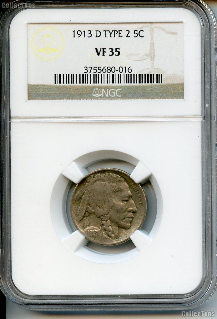 1913-D Type 2 Buffalo Nickel in NGC VF 35