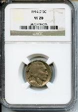 1914-D Buffalo Nickel in NGC VF 20