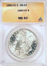 1882-CC Morgan Silver Dollars in ANACS MS 63