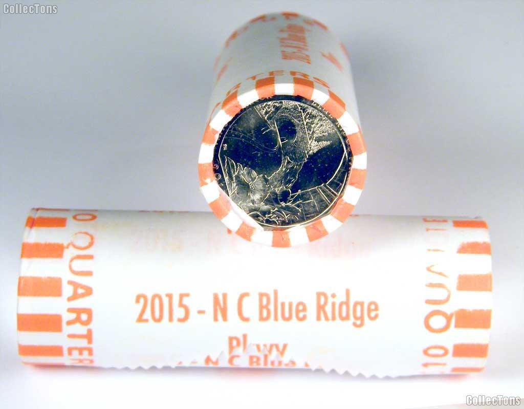 2015 P & D North Carolina Blue Ridge Parkway National Park Quarters Bank Wrapped Roll 80 Coins GEM BU