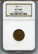 1869 Indian Head Cent in NGC AU 53 BN (Brown)