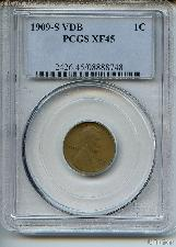 1909-S VDB Lincoln Wheat Cent KEY DATE in PCGS XF 45