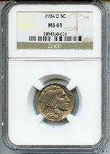 1934-D Buffalo Nickel in NGC MS 64