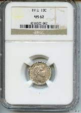 1912 Barber Liberty Head Silver Dime in NGC MS 62
