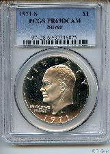 1971-S Eisenhower Silver PROOF Dollar in PCGS PR 69 DCAM