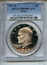 1971-S Eisenhower Silver PROOF Dollar in PCGS PR 69 DCAM