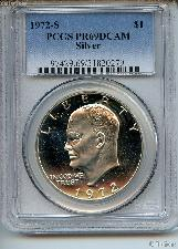 1972-S Eisenhower Silver PROOF Dollar in PCGS PR 69 DCAM