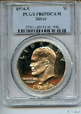 1974-S Eisenhower Silver PROOF Dollar in PCGS PR 69 DCAM