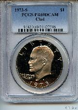 1973-S Eisenhower Clad PROOF Dollar in PCGS PR 69 DCAM