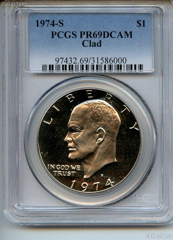 1974-S Eisenhower Clad PROOF Dollar in PCGS PR 69 DCAM