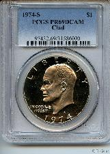 1974-S Eisenhower Clad PROOF Dollar in PCGS PR 69 DCAM