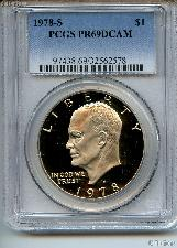 1978-S Eisenhower Clad PROOF Dollar in PCGS PR 69 DCAM