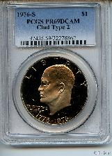 1976-S Eisenhower BICENTENNIAL Clad PROOF Dollar Type 2 in PCGS PR 69 DCAM