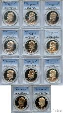 "Eisenhower ""Ike"" PROOF Dollar Complete 11 Coin Set in PCGS PR 69 DCAM"