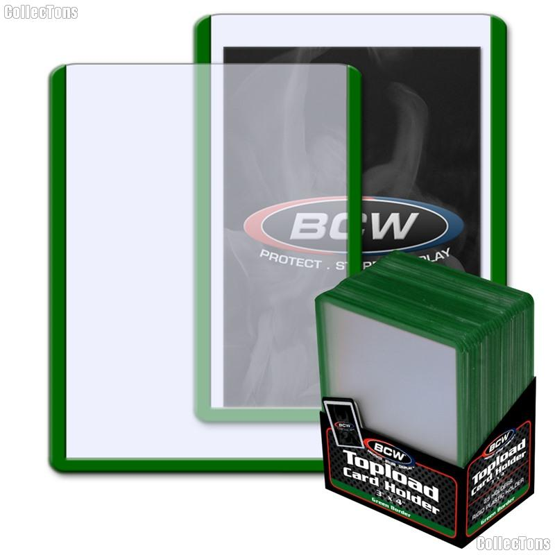 Green Border Topload Card Holder 3 x 4 - Pack of 25 by BCW