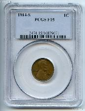 1914-S Lincoln Wheat Cent KEY DATE in PCGS F 15