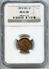 1909-S VDB Lincoln Wheat Cent KEY DATE in NGC MS 62 RB (Red Brown)