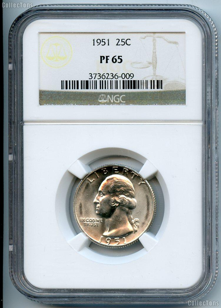 1951 Washington Silver Quarter Proof in NGC PF 65