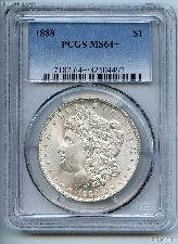 1888 Morgan Silver Dollar in PCGS MS 64+