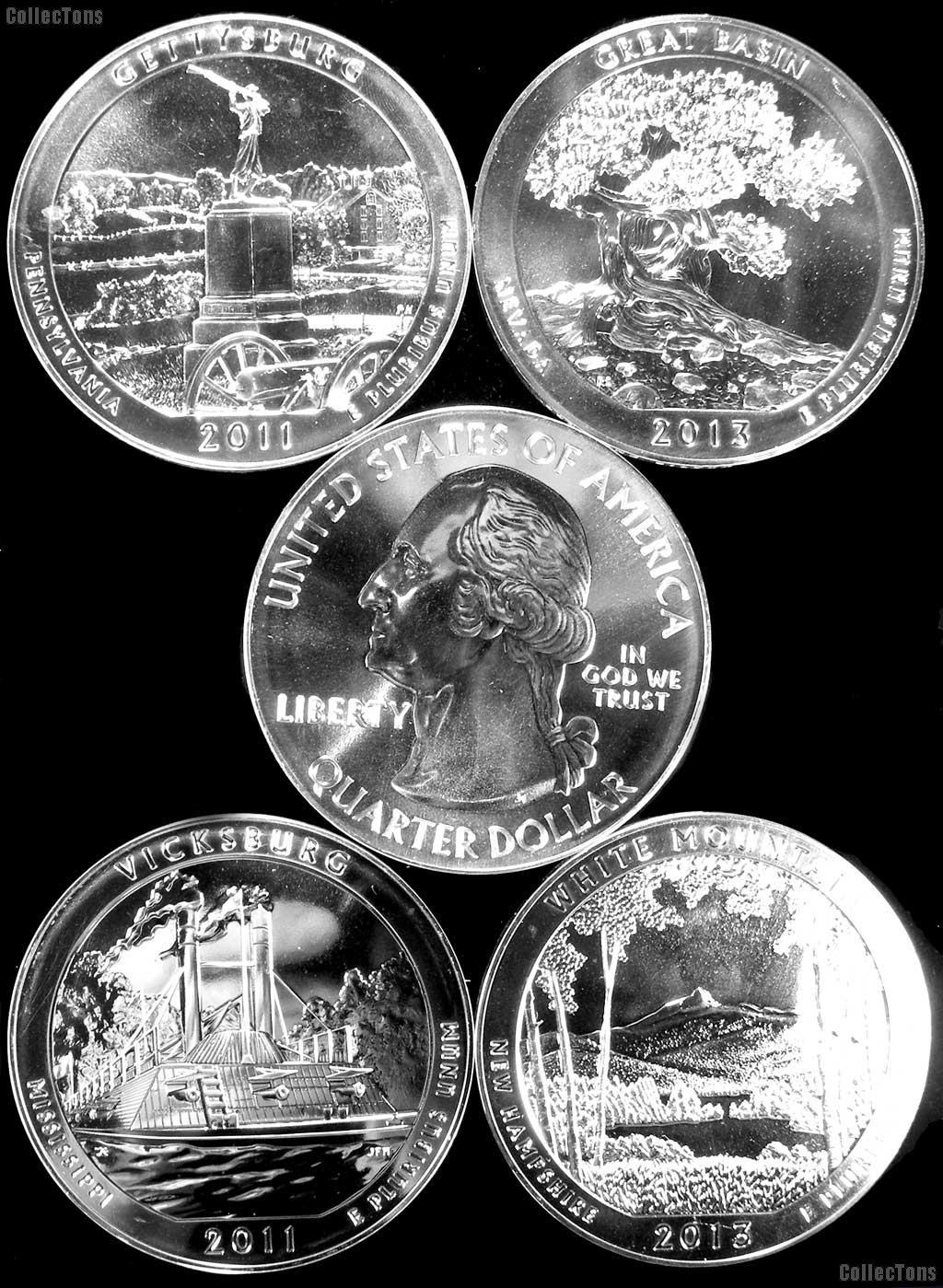 5 Oz Silver National Park ATB Coins - Mixed Dates
