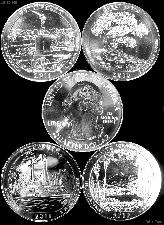 5 Oz Silver National Park ATB Coins - Mixed Dates