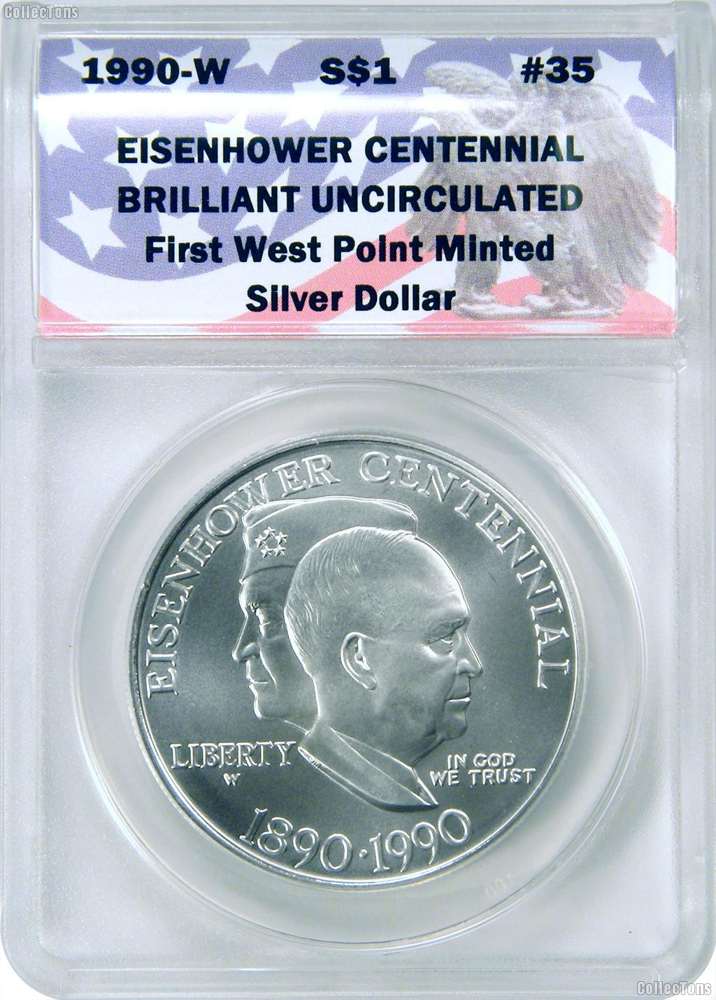 CollecTons Keepers #35: 1990-W Commemorative Eisenhower Centennial Silver Dollar Certified in Exclusive ANACS Brilliant Uncirculated Holder