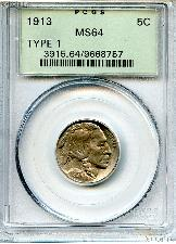 1913 Type 1 Buffalo Nickel in PCGS MS 64
