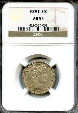 1908-D Barber Silver Quarter in NGC AU 55