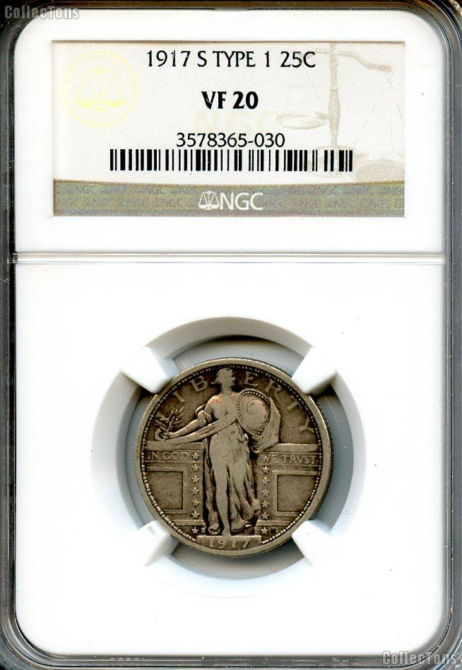 1917-S Standing Liberty Silver Quarter Type 1 in NGC VF 20