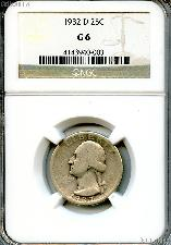 1932-D Washington Silver Quarter KEY DATE in NGC G 6