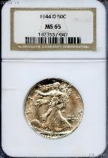 1944-D Walking Liberty Silver Half Dollar in NGC MS 65