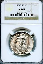 1945-S Walking Liberty Silver Half Dollar in NGC MS 65