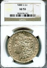 1888-S Morgan Silver Dollar in NGC AU 53