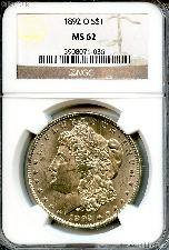 1892-O Morgan Silver Dollar KEY DATE in NGC MS 62