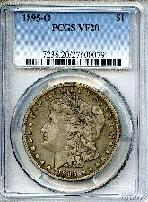 1895-O Morgan Silver Dollar KEY DATE in PCGS VF 20