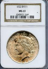 1922-D Peace Silver Dollar in NGC MS 63