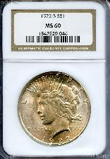 1922-S Peace Silver Dollar in NGC MS 60