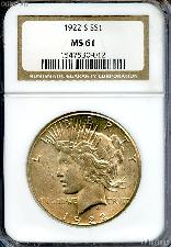 1922-S Peace Silver Dollar in NGC MS 61
