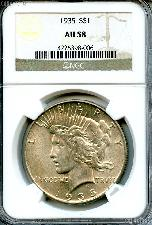 1935 Peace Silver Dollar in NGC AU 58