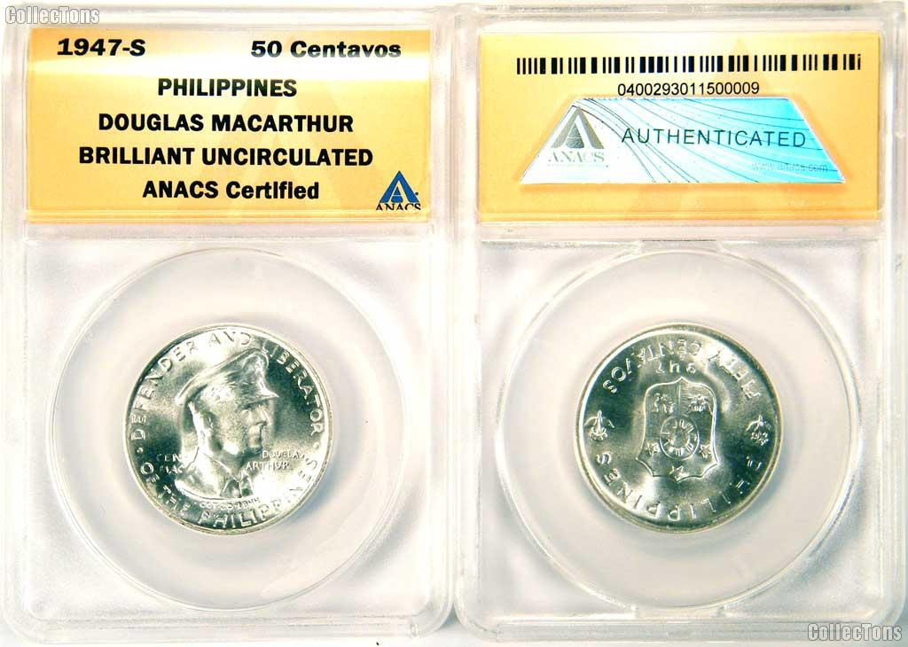 1947-S Philippines Silver 50 Centavos Douglas MacArthur in ANACS Brilliant Uncirculated